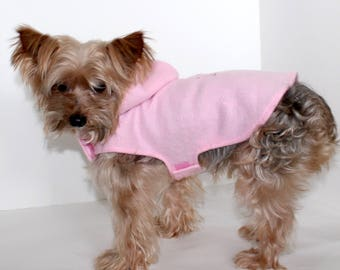 Pink Dog Hoodie, 3XS XXS XS S M L lightweight Pink Fleece Dogs Jacket, Embroidered Cupid, Designer Fashion Dog Clothing