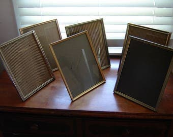 Vintage Gold Metal Picture Frames Regency Set Of 6 Retro Chic 8x10 Inch