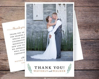 Printable or Printed Wedding Photo Thank You Card, Garden, Greenery Wedding thank you cards photo, personalized thank you – Waverly