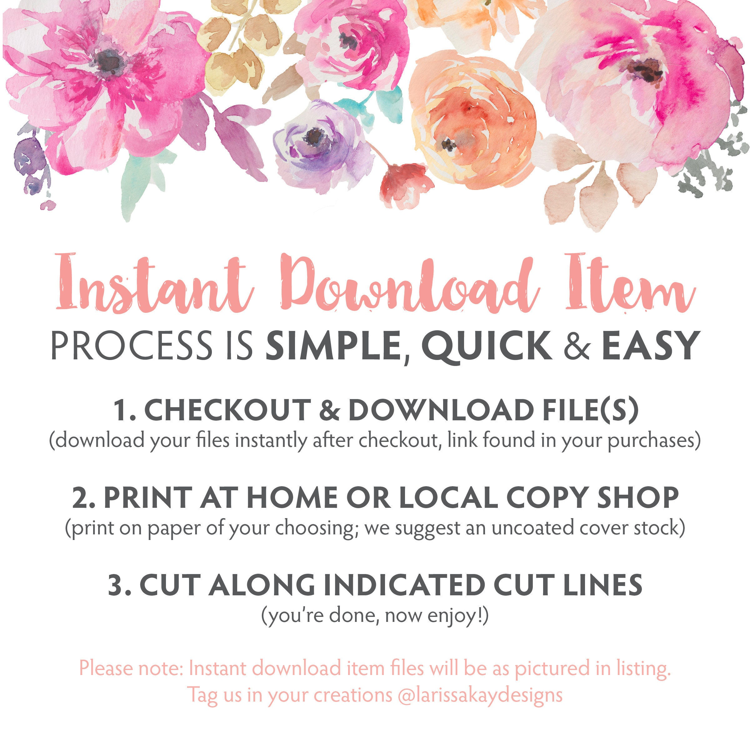 Printable Floral Happy Birthday Greeting Card Instant Download