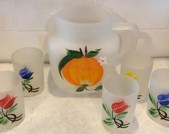 Vintage Set Pitcher and 4 Glasses Frosted Hand Painted