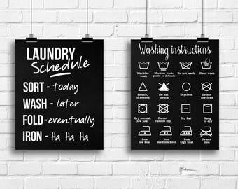 Laundry Art Prints, Laundry Room Signs, Laundry Schedule, Washing Instructions Sign, Home Decor, Housewarming Gift, Laundry Poster, A-2041