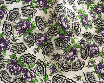 50s Lace And Purple Rose Cotton Fabric