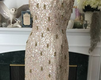 50s 60s Beaded Party Girl Dress