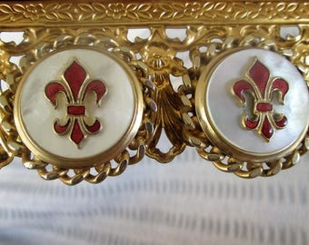 Red Fleur de Lis Earrings Gold Tone Clip On Classic Heraldic Costume Jewelry Vintage Gift
