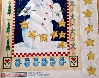 Christmas Fabric Panel Snowman Angel Personalised Stars Daisy Kingdom Quilting Sewing