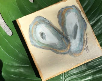 Oyster Shell Painting/Beach House Style Art/Nautical Theme Original Painting/Coastal Art