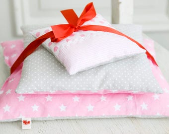 Doll bedding *Rosa & Stars*  Dots Stars Bed linen for doll bed cradle 3 pieces