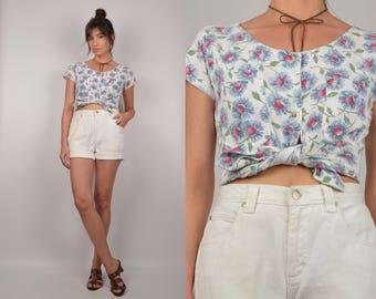 Vintage Floral Denim Shirt