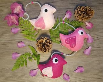 Bird Decorations, Pink Ombre Baby, Cute Kids Room, Woodland Wildlife, Plush Hanging, 3 Wildbirds, Gift Under 30, Handmade Birds, Keepsakes