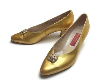 On Sale Vintage Van Dal Shoes | Gold Patent Shoes | Gold Shoes | 60's Retro Style | UK 7 | Vintage Pumps