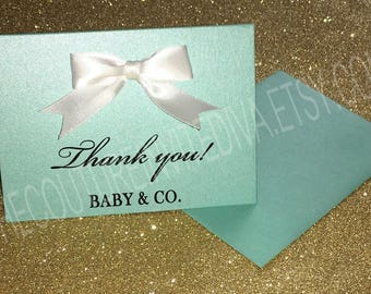 Baby and Co. Thank you Card | Robin Egg Blue Baby Shower Thank you Card