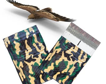 "10 Pack 6x10""  Camouflage Design Poly Bubble Mailers Self-Seal Business Envelopes Standard Mailer Bags Size #0 Protective Shipping Mailers"
