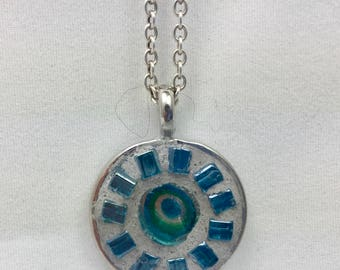 "Mosaic Pendant with 18"" Silver Chain"