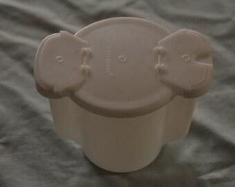 "White Tupperware Sugar Bowl/Container - 3 1/2"" tall"