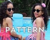 LEILA crochet pattern (3 sizes - baby, toddler & child) Hadley Paige Designs.  Boho kids.  Summer wear. Beach wear.  Kids fashion. Swim.
