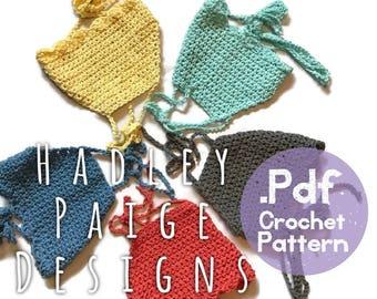 HAZEL scalloped wrap around crop top - .pdf Crochet Pattern - 3 sizes infant, toddler & child. Bikini top.  Boho kids.  Summer wear. beach