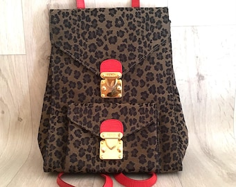 Authentic Fendi Backpack Leopard Red
