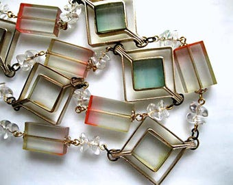 Lucite Mid Century Necklace, Geometric Squares Tinted Prisms, Crystal Nugget Spacers Op Art Suncatcher Necklace, Brass Square Diamond Frames