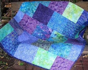 Quilt - Queen Quilt - Jamboree Batik Quilt - Purple and Green Batik Queen Quilt