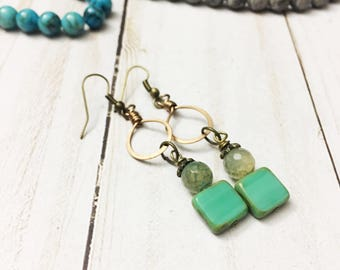 Mint green Czech glass and faceted dragons vein agate earrings with vintage brass findings by Jules Jewelry Box
