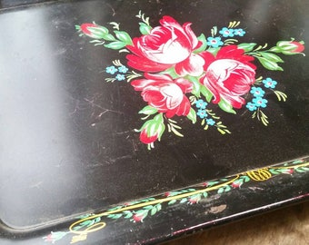 Vintage metal tray , floral serving tray , Cottage Chic tray ,  magnet tray