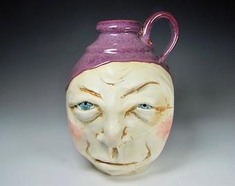 Face jug folk art pottery handmade conversation piece ceramic ceramic sculpture pottery