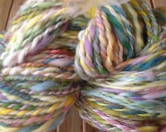 Fairies Take Tea,  handspun, chunky- bulky yarn, 356 yds., merino combed top