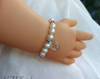 Children Pearl Bracelet With Cross Sterling Silver Baby Little Girl Newborn Toddler Jewelry First Communion Baptism Gift For Kids