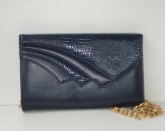 Navy Blue Stocko Purse - Shoulder Chain or Clutch Handbag with Gold Chain 1980s