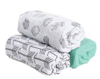 3 Pack Muslin Swaddle Owls, Gray Arrows and Mint Green Solid