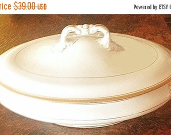 3-day SALE Vintage Covered Oval Bowl, china oblong dish, pedestal dish, china bowl