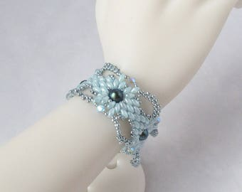 Winter Lace Bracelet in Light Aqua and Teal with Magnetic Clasp