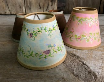 Vintage French Handpainted Lampshades, Floral Pastels, Grapevines, French Shabby Chic, Set of 4