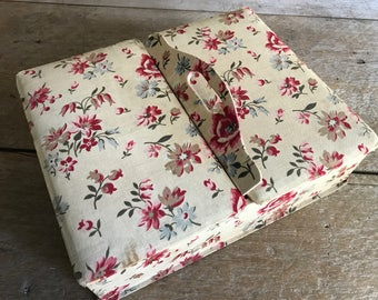 French Floral Fabric Covered Box, Jewelry, Boudoir Vanity Case, Holiday Gift Box