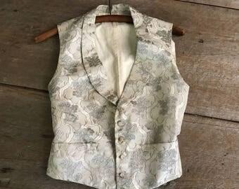 Antique Waistcoat Gilet, Couture Vest, Silk Damask, Linen, Cotton