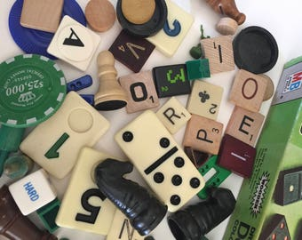Game Pieces / 60 Pc. Vintage Green, Black, Blue & White Game Pieces in a Dominoes Box
