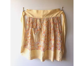Vintage Floral High Waisted Apron in Yellow & Orange - Retro Adult Kitchen Style - Ditsy Flower Print - Housewife Cook Chef Baker