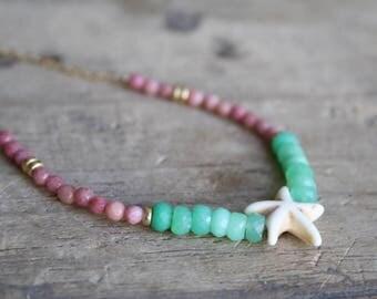 Beach jewelry necklaces, Beach gemstone necklace, Pink green gemstone necklace, Starfish beach necklace, Summer holiday gift, Summer jewelry