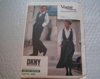 Vintage Vogue Pattern 2375 DKNY American Designer Miss Jumper & Jumpsuit