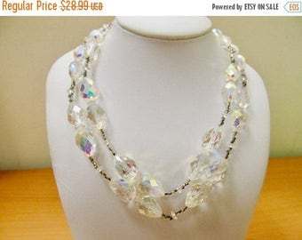 ON SALE VENDOME Aurora Borealis Crystal and Beaded Double Strand Necklace Item K # 38