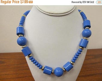 ON SALE Vintage Periwinkle Plastic Beaded Necklace Item K # 2053