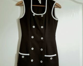 Back Vintage Mini Dress with Buttons and Pockets