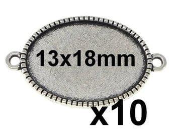 Silver cabochon 13x18mm 10 connectors