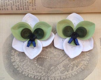 Statement orchid earrings Modern Contemporary jewelry Paper quilling art