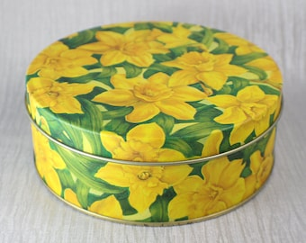 Yellow and Green Daffodil Print Round Tin Printed Image of Flowers Sewing Box