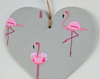 Wooden Hanging Heart in Sophie Allport Flamingo