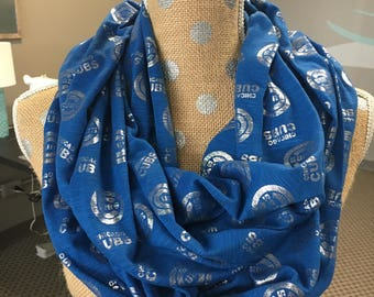 Chicago Cubs Soft Slub Jersey Knit Infinity Scarf Blue/Silver