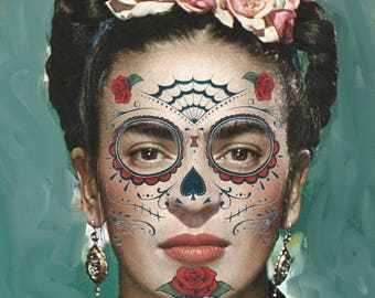 Day of the Dead,temporary face tattoo,3 styles to choose from, Frida tattoo,washable tattoo, Dia de los Meurtes, costume,sugar skull