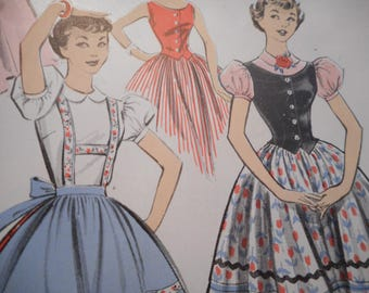 Vintage 1950's Advance 8197 Dress with Weskit and Apron Sewing Pattern Size 13 Bust 33